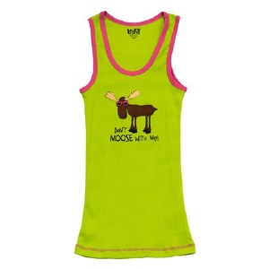 Lazy One Women's Tank Top 'Don't Moose With Me' Green - XLarge