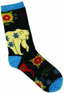 Ladies Zentangle Bear/Moose/Flower Sock