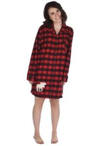 Women's Button Flannel Moose Nightshirt - Small/Medium