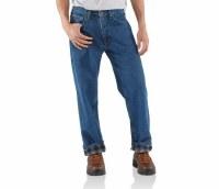 Carhartt Straight Leg Flannel Lined Jeans (Darkstone) 33 X 30