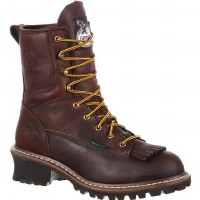 Men's Georgia Boot Waterproof Logger Boot Brown - Size 8