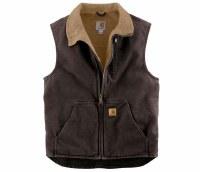 Carhartt Sandstone Sherpa-Lined Mock-Neck Vest (Dark Brown) Large