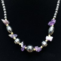 "16"" Hematite/Purple Necklace"
