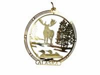 黄铜阿拉斯加麋圣诞节装饰品