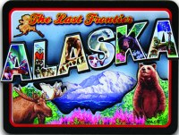 Retro Alaska Wood Magnet