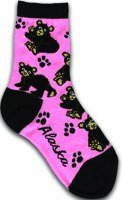 Youth Black Bear Pink Sock 2-4