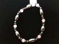 Hematite Bracelent with Pink Beads