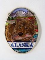 Small Oval Suncatcher - Bear With Fish Alaska