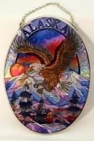 Medium Oval Suncatcher - Eagle Sunset Alaska