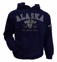 Gray Scale Hooded Sweatshirt Navy - 2XL