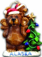 Alaska Grizzly Bear with Tree Christmas Ornament