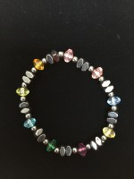 Hematite & Multi-Color Bead Stretch Bracelet