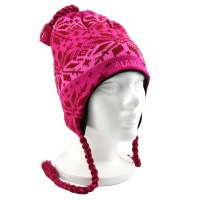 Snowflake Scatter Pink Knit Beanie