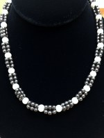 "19"" Multi-Strand Hematite with Pearl Necklace"