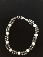 Hematite Bracelet With Pearl Beads