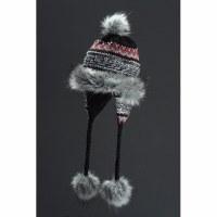 Faux Fur Hat Noora - Black, Grey & Red