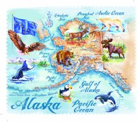 Alaska Watercolor Map Lens Cloth