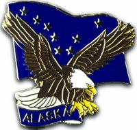 Eagle Alaska Flag Pin