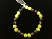 Hematite Bracelet with Neon Yellow Beads