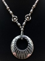 "17"" Hematite Necklace With Round Pendant"