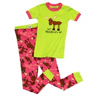 Lazy One Girl's Pj Set 'Don't Moose With Me' - 4T