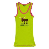 Lazy One Women's Tank Top 'Don't Moose With Me' Green - Medium