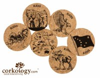 Alaska Theme Cork Coaster $1.99 ea. 6 for $10.00