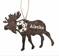 闪光金属麋阿拉斯加圣诞节装饰品
