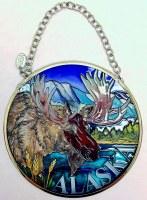 Small Round Suncatcher - Moose Alaska