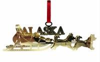 黄铜雪橇狗阿拉斯加圣诞节装饰品