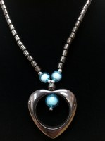 "18"" Hematite Necklace with Blue Accent Beads and Heart Pendant"