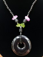 "18"" Hematite Necklace with Round Pendant"
