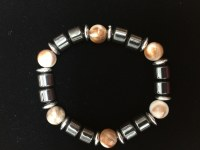 Hematite Bracelet with Orangish Beads