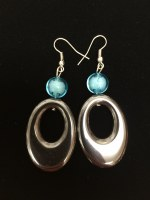 Hematite Earrings With Blue Accent