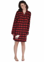 Women's Button Flannel Moose Nightshirt - Small/Medium