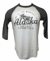 Men's Superior Moose Alaska Baseball Tee White & Grey - Small