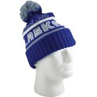 Blue & Silver Alaska Big Pom Knit Hat