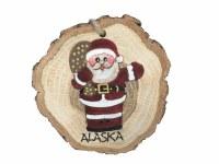 圣诞老人原木切片阿拉斯加圣诞节装饰品