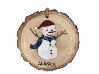 雪人原木切片阿拉斯加圣诞节装饰品