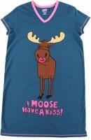 Women's 'I Moose Have a Kiss' V-Neck Night Shirt - Small/Medium