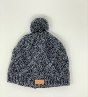 Women's Dark Blue Knit Pom Hat with Alaska Patch