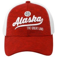 Alaska Script Red Foam Ball Cap