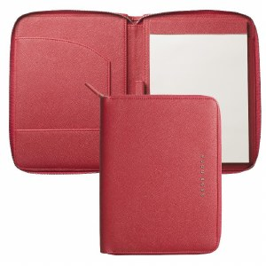 Hugo Boss Saffiano Leather A5 Folder in Red