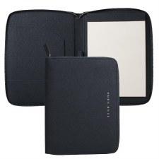 Hugo Boss Saffiano Leather A5 Folder in Navy