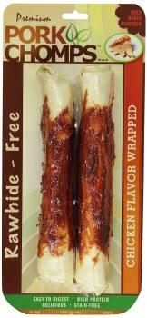Premium Pork Chomps Chicken Flavor Wrapped Rolls Dog Treats 8 Inch roll 2 pack