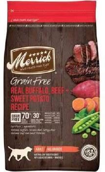 Merrick Grain Free Real Buffalo and Sweet Potato Dry Dog Food 25lb
