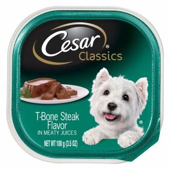 Cesar Classics Pate T-Bone Steak Flavor Dog Food Trays 3.5oz