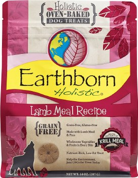 Earthborn Holistic Grain Free Lamb Meal Recipe Oven Baked Dog Treats 14oz