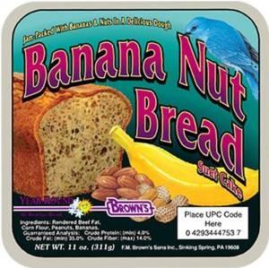 Browns Banana Nut Bread Suet Cake 11.5oz For Wild Birds