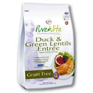 Pure Vita Grain Free Duck and Green Lentils Recipe Dry Dog Food 15lb